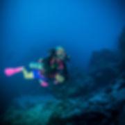 A KISS Orca Spirit Rebreather diver during a 60m trimix dive.