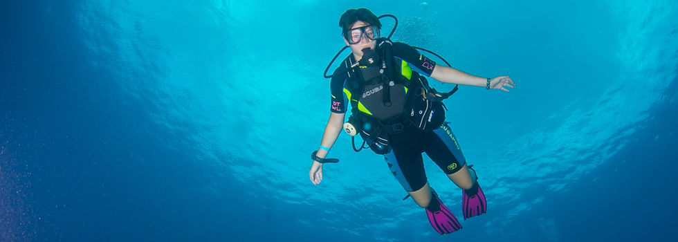A scuba diver with Divetech, off Grand Cayman's main wall