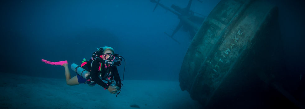 A rebreather diver on the wreck of the USS Kittiwake