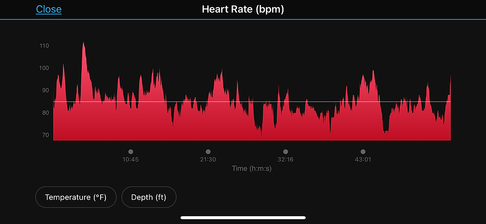 Heart rate graph from the Garmin Descent MK2i.