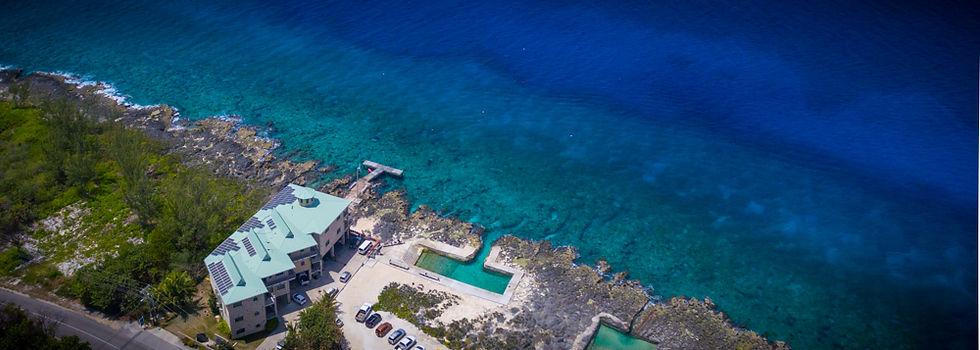 Drone shot of Divetech's Lighthouse Point shore diving location
