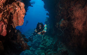 "A rebreather diver on the dive site ""Babylon."""
