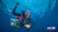 A KISS rebreather diver on a deco stop after a normoxic trimix dive