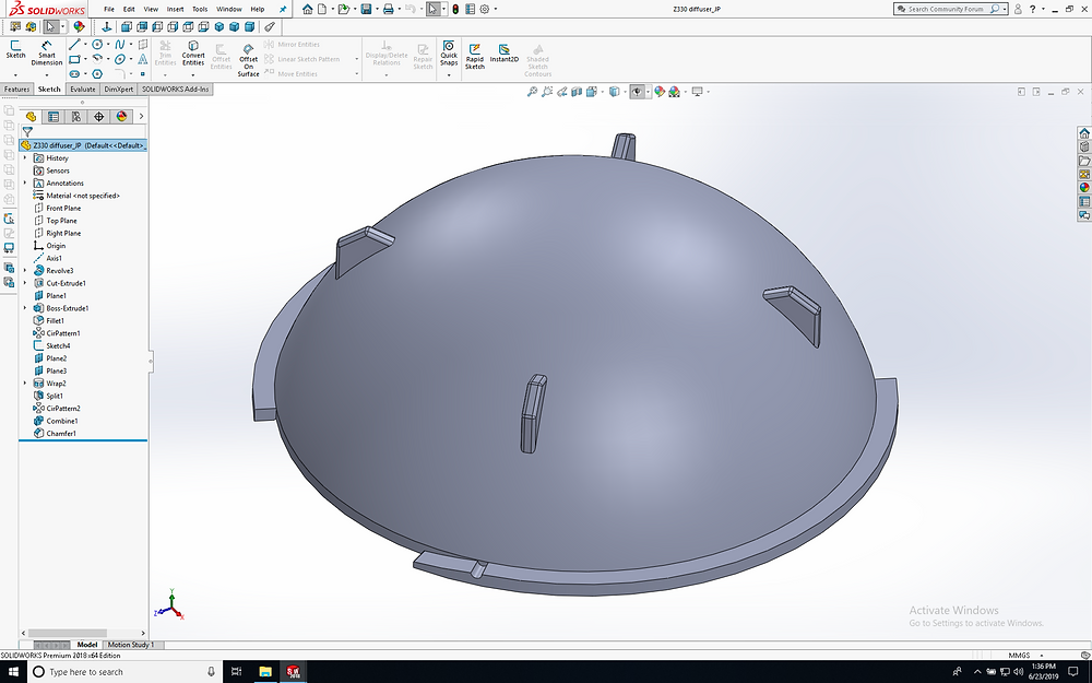 a 3d model of an Inon Z330 diffuser, made in Solidworks.
