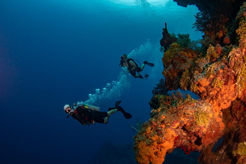 Deep divers on Cayman's main wall.