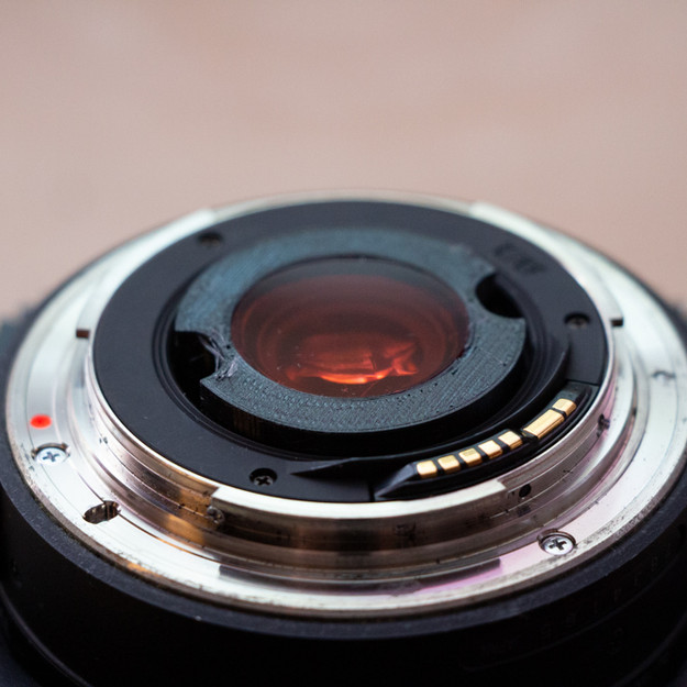 Completed filter and holder installed in the back of the Tokina lens. Held in place by friction.