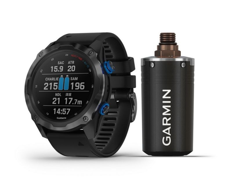 Product photo of the Garmin Descent MK2i with wireless air integration transmitter.