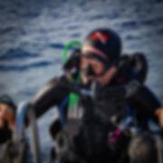 KISS Orca Spirit rebreather diver, climbing the ladder.