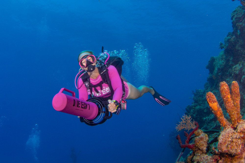 Joanna on an underwater scooter (DPV) dive.