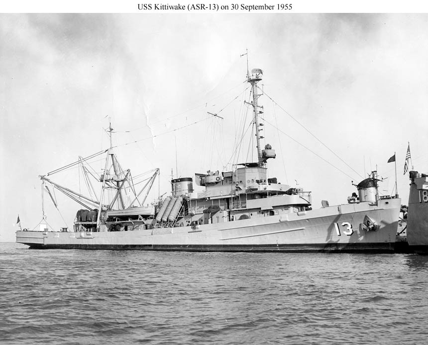 USS Kittiwake (ASR-13) moored astern of USS Orion (AS-18) at Naval Station Norfolk, 30 September 1955. US Naval History and Heritage Command, Photo, courtesy Shipscribe.com.