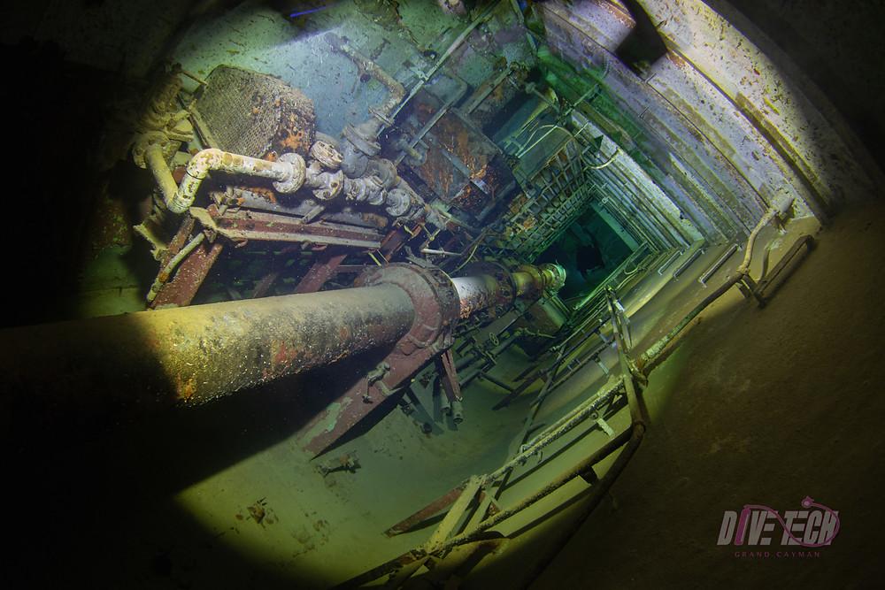 "Light painting shot of the USS Kittiwake ""shaft alley."""