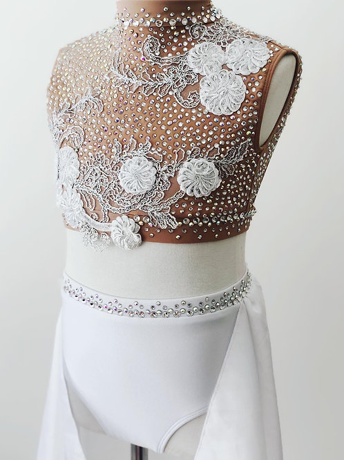 Gorgeous white and nude two piece lyrical costume
