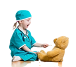 Adorable child dressed as doctor playing