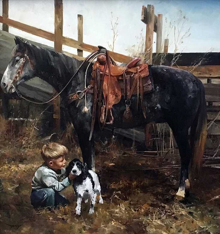 valeriy kagounkin original art валерий кагунькин tamara magdalina тамара магдалина western art paintings a boy and his friend