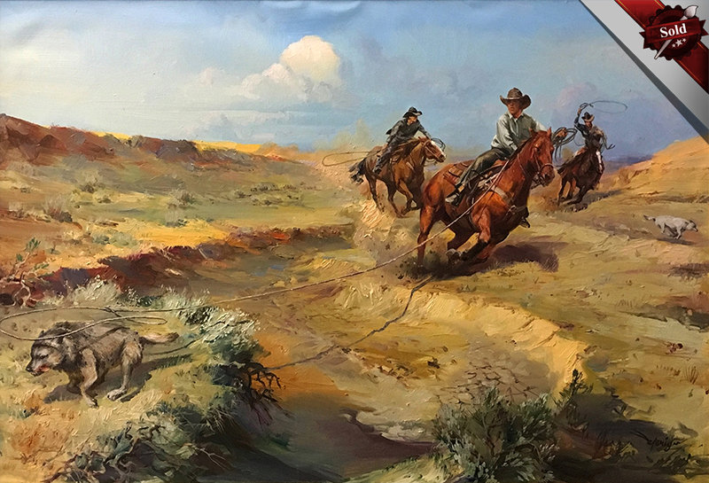 valeriy kagounkin original art валерий кагунькин tamara magdalina тамара магдалина western art paintings chasing down the predators