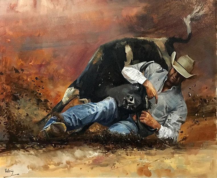 valeriy kagounkin original art валерий кагунькин tamara magdalina тамара магдалина western art paintings bull dogging