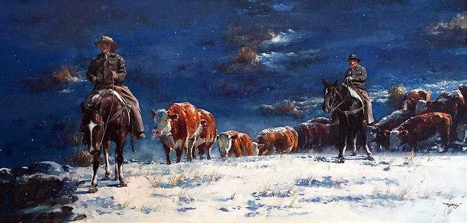 valeriy kagounkin original art валерий кагунькин tamara magdalina тамара магдалина western art paintings heading for warm shelter