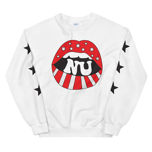 mouth with star sleeves sweatshirt