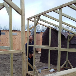 The shelters were  then erected on site.