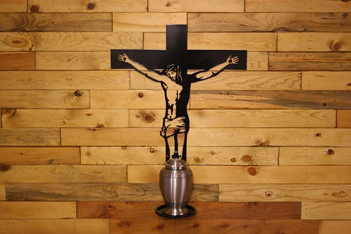 Jesus on The Holy Cross Urn Stand