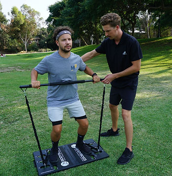 In-home personal training San Diego using a full mobile gym. Clients may choose to complete workouts at home or at a public location, such as a park.