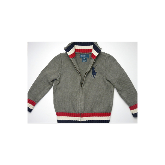 Ralph Lauren Grey Zippy Knit With Tri Colour Collar and Cuffs