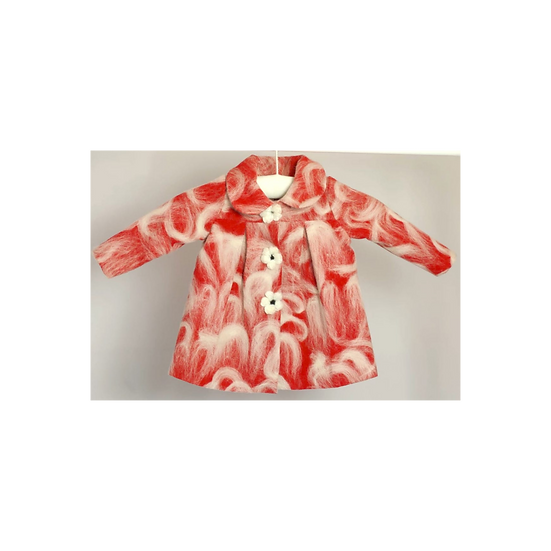 Baby Sara Mohair Coat Red with White floral detail