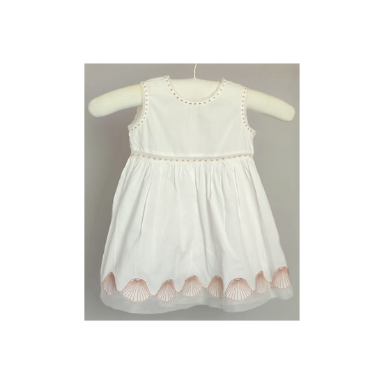Stella McCartney White Cotton Dress with pink Shell Embroidery