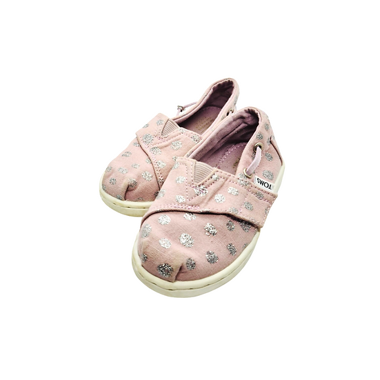 Toms, dusky pink with silver polka dots