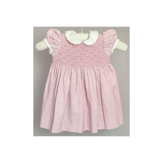 Baby Pink fine cordroy dress with floral smocking top