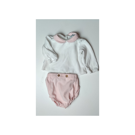 Babidu Pink Cordroy Bloomers and matching white top with pink collar