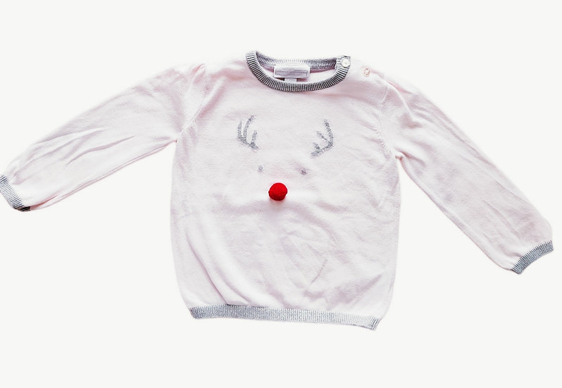 The Little White Company Baby Jingles Reindeer Jumper