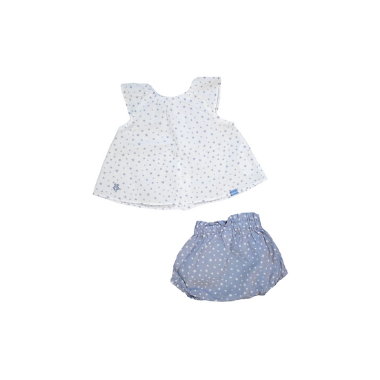 Tutto Piccolo Sleeveless Shirt with blue stars and contrasting bloomers