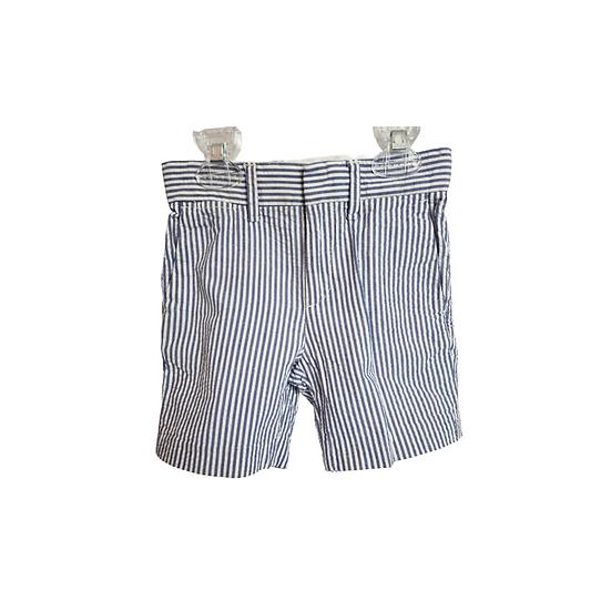 J Crew Boys Cotton Stanton Short in blue and white stripe