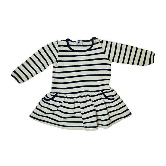 Petit Bateau Navy and White Stripe Dress