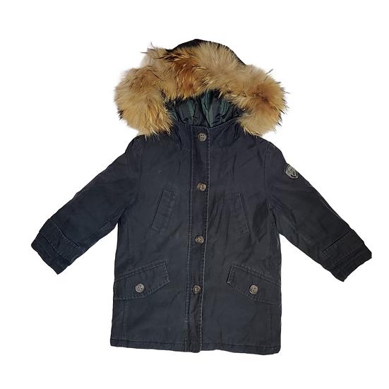 Bonpoint Navy Parka with Fur Hood