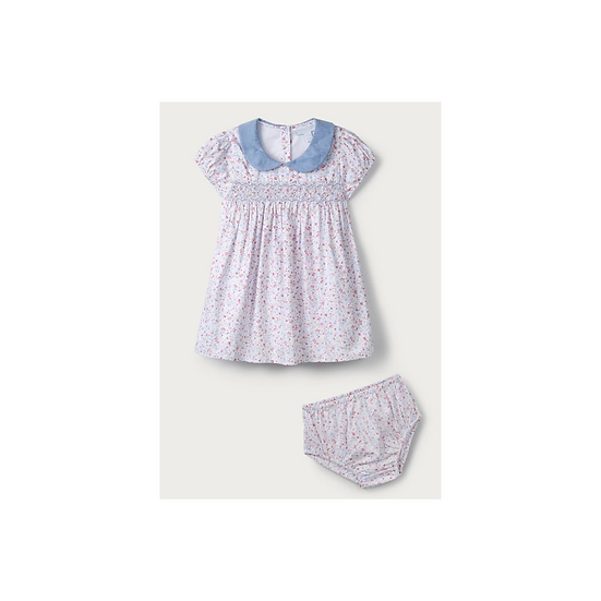 The Little White Company Chambray Collar Floral-Print Dress