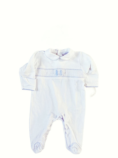 The Nursery Window Babygrow with blue bunny and matching hat