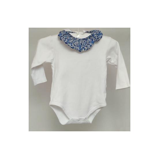Pape & Co. White Cotton Bodysuit with blue floral Collar