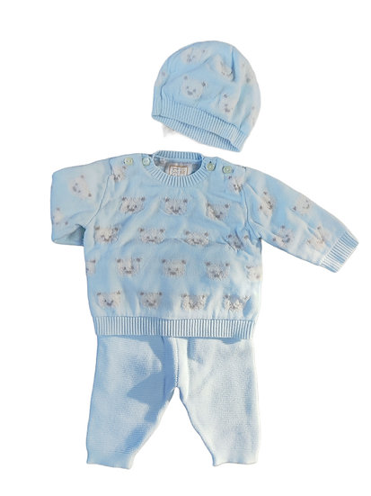 Emile et Rose rico blue jumper with teddy bear, matching hat & blue knit joggers