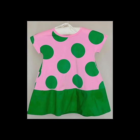 Cos Polka Dot Dress Pink and Green