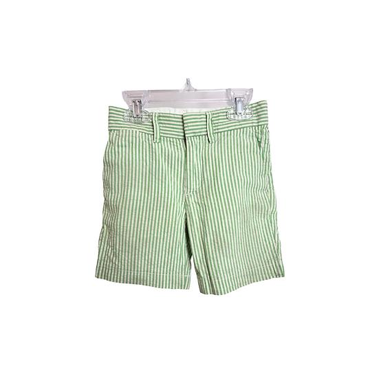 J Crew Boys Cotton Stanton Short in green and white stripe
