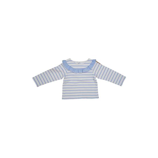 Jacadi blue and white stripe shirt with ruffle collar