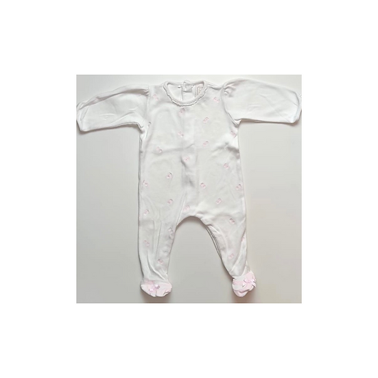Emile et Rose White Babygrow with pink bows