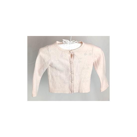 Bonpoint Openwork Cashmere Cardigan baby pink