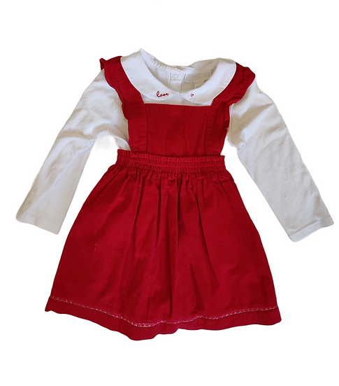 The Little White Company Red Cord Dress with white collared long sleeve vest