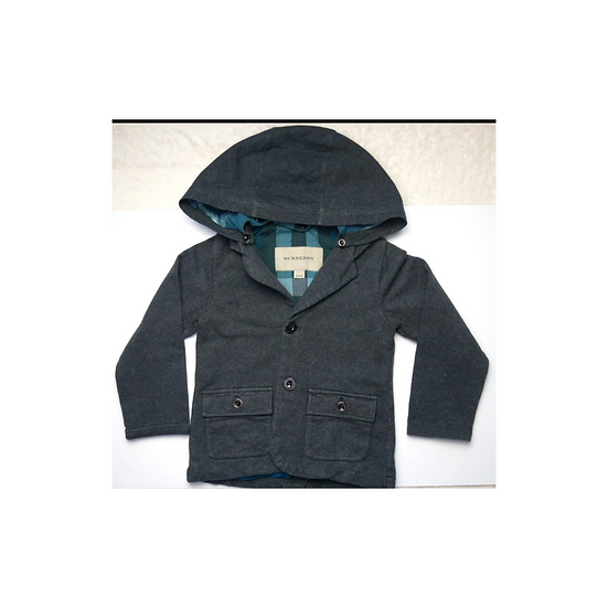 Grey Burberry Coat with Green Cheque Inside and detatchable hood