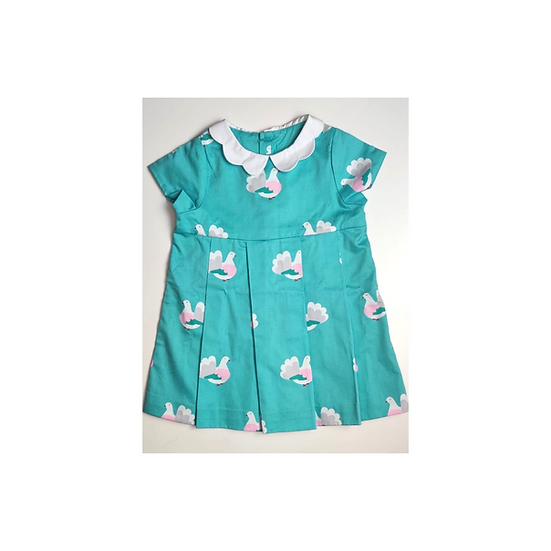 Jacadi Dress Teal with Birds and White Frill Collar