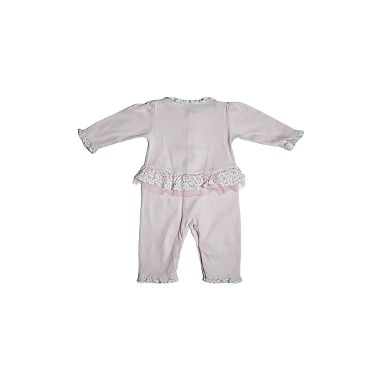 Kissy Kissy Pink footless babygrow with floral peplum hem, collar and cuffs