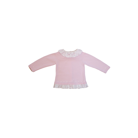 Artesania Granlei baby pink Knit jumper with floral collar